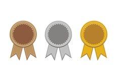 Bronze, Silber und Goldmedaillen Stockfotografie