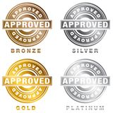 Bronze Silver Gold Platinum Approved Stamp Set. An image of a Bronze Silver Gold Platinum Approved Stamp Set isolated on white royalty free illustration