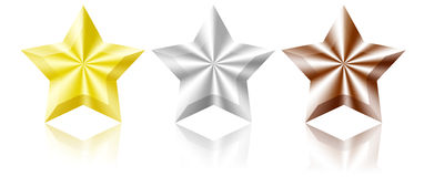 Bronze silver and gold star. Bronze,silver and gold star on white background stock illustration