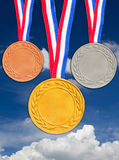Bronze Silver And Golden Medals. Stock Photos