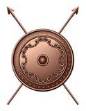 Bronze sköld och korsade spjut. Arkivbild