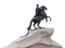 bronze skicklig ryttaremonumentpetersburg st Arkivbilder