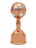Bronze soccer ball trophy on pedestal Royalty Free Stock Photos