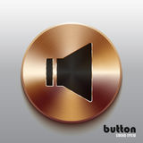 Bronze sound speaker button with black symbol. Round sound speaker button with black symbol and brushed bronze texture isolated on gray background Royalty Free Stock Photos