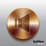 Bronze sound speaker button. Round sound speaker button with brushed bronze texture isolated on gray background Stock Photos