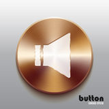 Bronze sound speaker button with white symbol. Round sound speaker button with white symbol and brushed bronze texture isolated on gray background Royalty Free Stock Photo