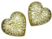Bronze spa aroma candles set heart shape. Set of heart candles as present in red box Stock Image