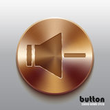 Bronze speaker button for decrease sound. Round speaker button for decrease sound with brushed bronze texture isolated on gray background Stock Photos