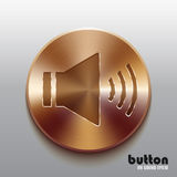 Bronze speaker button. Round speaker button with brushed bronze texture isolated on gray background Stock Photography