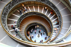 Bronze spiral staircase in Vatican Museum. Famous spiral staircases in Vatican Museum, Bramate staircase from above, Rome, Italy, made of bronze Royalty Free Stock Image