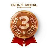 Bronze 3st Place Medal Vector. Metal Realistic Badge With Third Placement Achievement. Round Label With Red Ribbon, Laurel Wreath, Stock Images