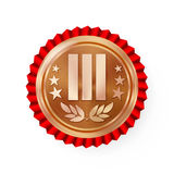 Bronze 3st Place Rosette, Badge, Medal Vector. Realistic Achievement With Third Placement. Round Championship Label With Red Roset Stock Images