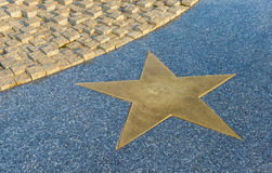 Bronze Star on the granite floor Stock Photos