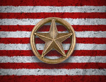 Bronze star on US flag background stock image