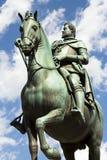 Bronze statue. Italian bronze statue of man on horse back Stock Photos