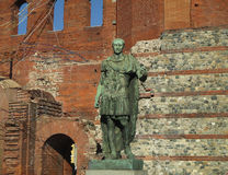 Bronze Statue of the Ancient Roman Emperor Augustus at the Palatine Gate, Turin Royalty Free Stock Photo