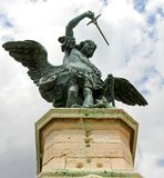 Bronze statue of an Angel on top of the castle of Sant'Angelo Royalty Free Stock Images