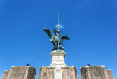 Bronze Statue of the archangel Michael on top of Castel Sant Ang Stock Images