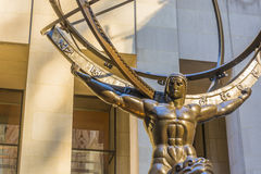 Bronze statue of Atlas in New York. New York, USA, november 2016: Atlas is a bronze statue in front of Rockefeller Center in midtown Manhattan, New York City Royalty Free Stock Images