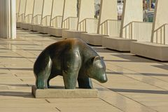 Statue of a bear in the paseo del muelle uno promenade in MAlaga Stock Photo