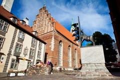 Bronze statue for the Bremen Town Musicians located in Riga, Latvia. stock photo