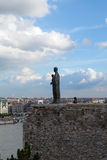 Bronze Statue and Budapest City View from Buda Stock Photos