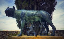 Bronze statue the Capitoline wolf royalty free stock photography