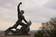Bronze statue at Citadella - Budapest, Hungary Royalty Free Stock Photo