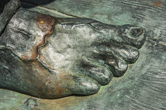 Bronze statue close up of a right male foot Royalty Free Stock Photos