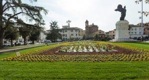 The bronze statue in Della Vittoria Square in Empoli. Empoli Italy - 04 november 2017: The bronze statue in Della Vittoria Square of the goddess Victory in stock image