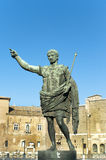 Bronze statue of emperor Caesar Augustus. On Via dei Fori Imperiali, Rome, Italy royalty free stock photography
