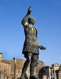 Bronze statue of emperor Caesar Augustus. On Via dei Fori Imperiali, Rome, Italy Stock Photos
