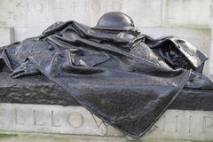 Royal artillery memorial, Hyde Park Corner, London,UK. Bronze statue of a fallen soldier,part of the Royal artillery memorial in Hyde Park Corner,London Stock Images