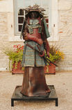 Bronze statue in the front of Chateau de Pommard w Stock Photography
