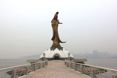 The Bronze Statue of Goddess Kun Iam, a Buddhist Deity of Mercy,. Situated on a man-made island in Macau Royalty Free Stock Images