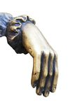 Bronze statue hand isolated on white Stock Photos