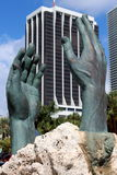 Bronze statue of hands,depicting the loss of Cuban lives trying to make it to America,Miami,Florida,Summertime,2013 Royalty Free Stock Photo