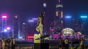 Bronze statue of Hong Kong Film Awards and skyline in Avenue of Stars timelapse hyperlapse. stock video footage