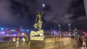Bronze statue of Hong Kong Film Awards and skyline in Avenue of Stars timelapse hyperlapse. stock video