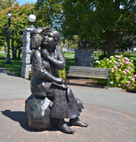 Bronze statue honors the renowned Canadian artist Emily Carr. VICTORIA BC CANADA JUNE 22 2015: Bronze statue honors the renowned Canadian artist Emily Carr Royalty Free Stock Images