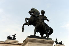 Bronze statue of the horse tamer located near Austrian Parliament Building in Vienna. It was designed and executed by J. Lax in 18 Royalty Free Stock Photography