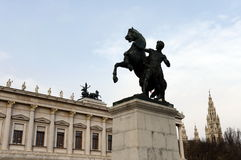 Bronze statue of the horse tamer located near Austrian Parliament Building in Vienna. It was designed and executed by J. Lax in 18 Stock Image