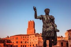 Bronze statue of Julius Caesar at the Fori Imperiali, Rome, Italy. Bronze statue of Julius Caesar at sunset at the Fori Imperiali, Rome, Italy stock images