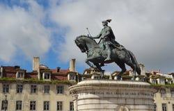 Bronze Statue of King Joao Praca da Figueira. Royalty Free Stock Photos