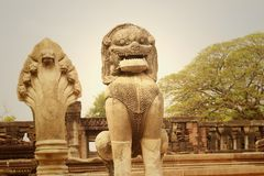 Bronze statue of a lion at castle in Thailand Royalty Free Stock Image