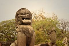 Bronze statue of a lion at castle in Thailand Royalty Free Stock Photography