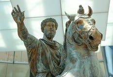 The Bronze Statue of Marcus Aurelius. Detail of the equestrian bronze statue of emperor Marcus Aurelius, erected in 175 AD. The statue is in the collections of Stock Photos