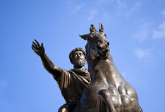 Bronze statue of Marcus Aurelius, roman emperor. Royalty Free Stock Images