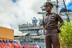Bronze statue Missouri. HONOLULU, OAHU, HAWAII, USA - AUGUST 21, 2016: bronze statue of Commander in chief of Pacific Fleet, Chester W. Nimitz who lead America Stock Image