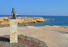 Bronze Statue Of A Naked Lady Woman - Nude Figure Sea View Royalty Free Stock Images